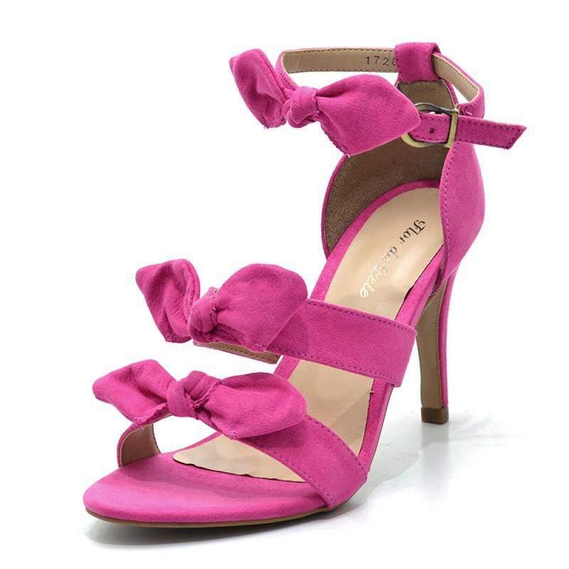 d139573bc Sandália feminina social com laços salto alto em camurça pink - R ...