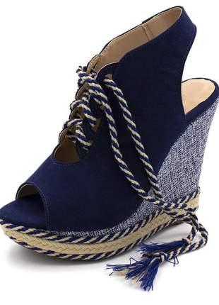Sandália anabela amarração cadarço camurça azul marinho