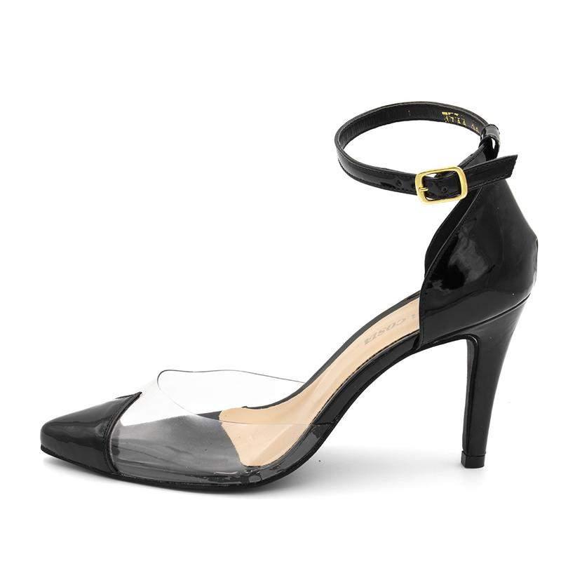 5dd440c232 ... Sapato scarpin salto alto em napa verniz preto com transparência2 ...