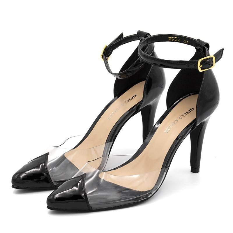 d4c28e1878 Sapato scarpin salto alto em napa verniz preto com transparência - R ...