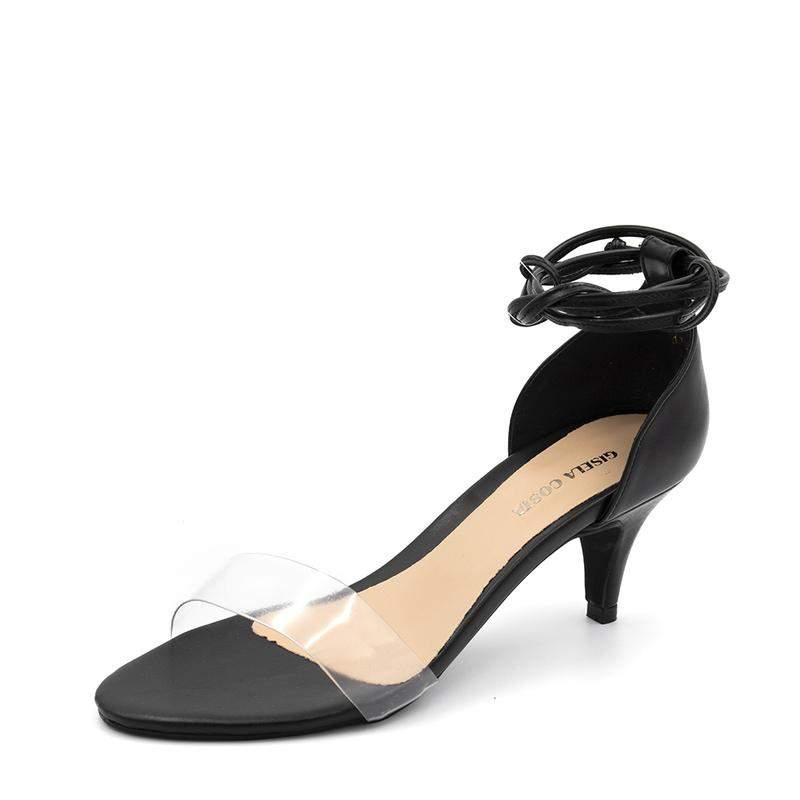 2d4ee9b73 Sandália social feminina salto baixo fino preto com transparencia amarrar  na perna1 ...