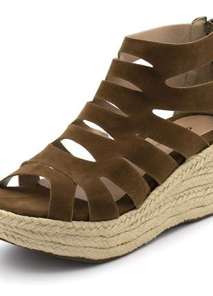 Sandália anabela salto médio corda chocolate