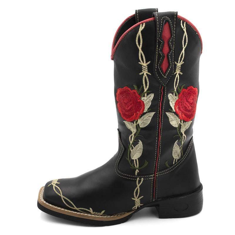 d55407eea Bota texana feminina preta bico quadrado bordado flor - R$ 299.90 ...