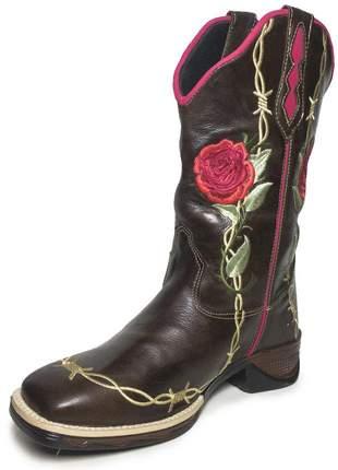 a6815a29b9 Bota texana feminina bico quadrado bordado flor - R$ 299.90 (cano ...