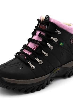 Tênis adventure coturno feminino preto detalhe rosa