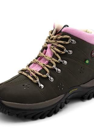 fd51dc404 Tênis cano alto coturno adventure feminino marrom detalhe rosa - R ...