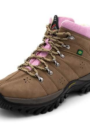 Tênis coturno adventure feminino cano alto mocassim  /rosa