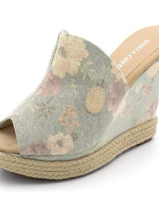 Sandália anabela tamanco salto alto tecido estonado color