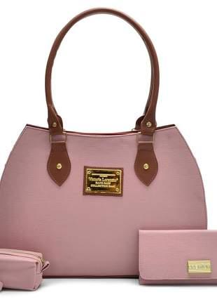 Kit com bolsa feminina + carteira + bolsa moeda cor rosa