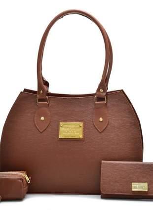 Kit com bolsa feminina +carteira +bolsa moeda caramelo