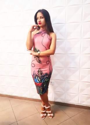 Vestido midi estampado moda evangélica florido ref 84