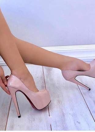 Sapatos femininos peep toe plataforma salto 15 cm