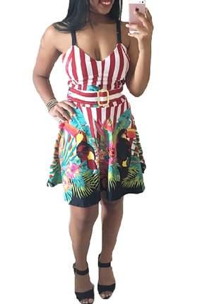 Vestido floral com cinto embutido ref 54