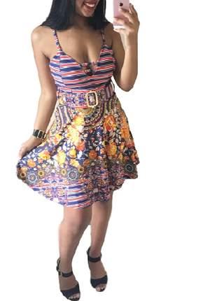 Vestido floral rodado com cinto embutido ref 54