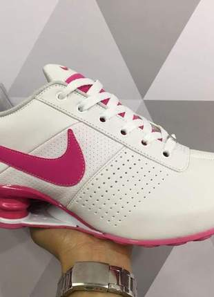 Tênis nike shox feminino classic branco/rosa