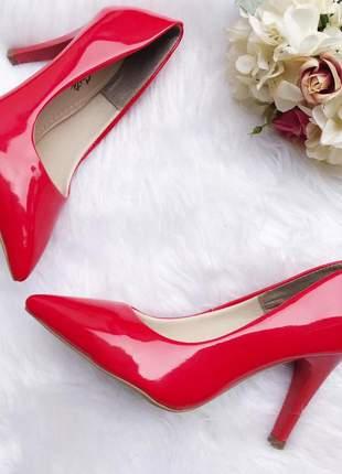Scarpin classico vermelho fun store bico fino salto 9 cm