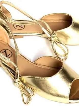 Sandália femininas rasteirinha dourada