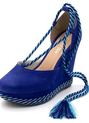 Sandália anabela  salto plataforma  camurça azul royal amarrar na perna