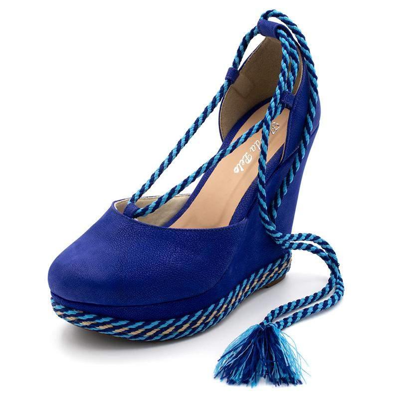 f14ac7ee6 Sandália anabela salto plataforma camurça azul royal amarrar na perna1 ...