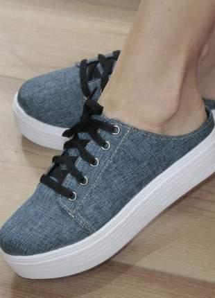 Tênis  mule feminino jeans anabela platoforma
