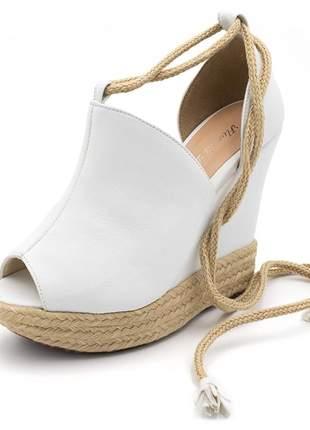 Sandália anabela salto plataforma branca amarrar na perna