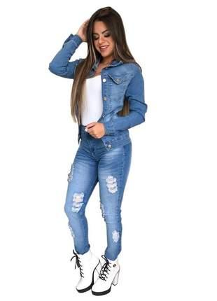 Jaqueta jeans modeladora com lycra