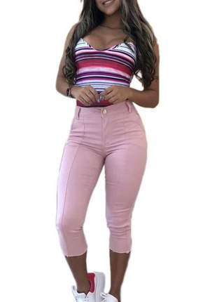 Calça capri rosa jeans color