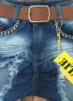 Short jeans cintura alta preto da julie promoção verão 2019