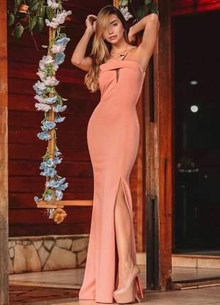 Vestido longo com fenda - coral- salmão
