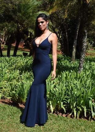 Vestido longo sereia - azul marinho