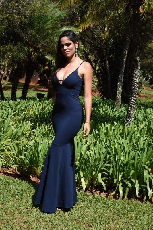 6f46cf47561c4 Vestido longo sereia - azul marinho - R$ 179.90 (de madrinha, para ...