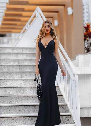 Vestido longo sereia - formatura - preto