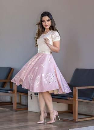 Vestido   rose floral midi moda evangelica