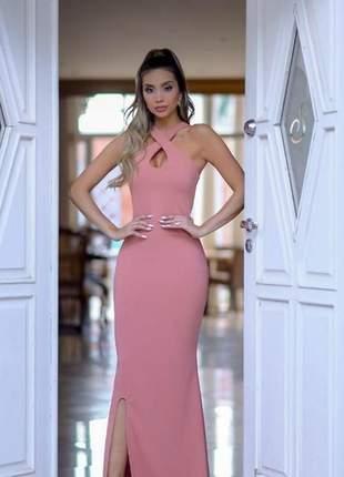 Vestido longo  transpassado - coral- rosé