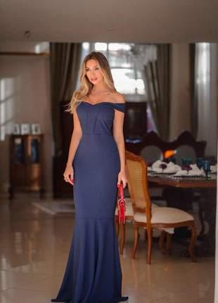 Vestido de festa longo sereia - azul marinho