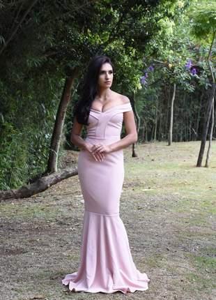 Vestido longo sereia de festa - madrinha- rosé