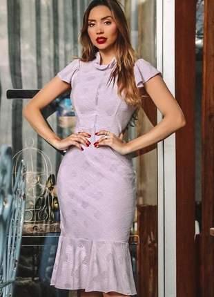 Vestido midi lilas lavanda
