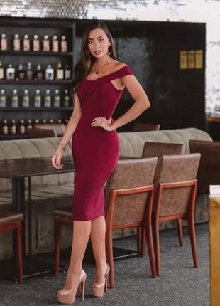Vestido marsala vinho midi