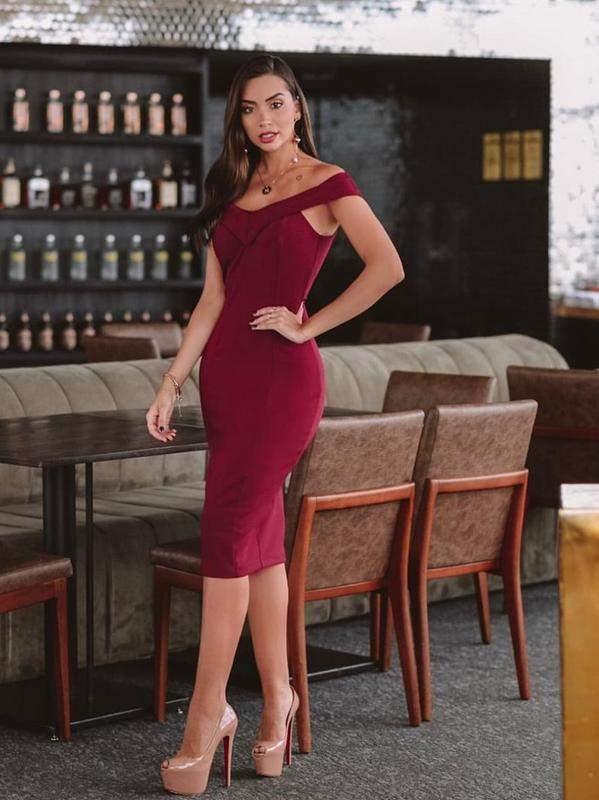 Vestido Marsala Vinho Midi R 9900 Shafa O Melhor Da Moda Feminina