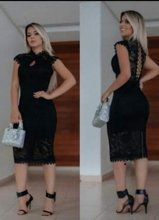 Vestido preto midi  festa renda