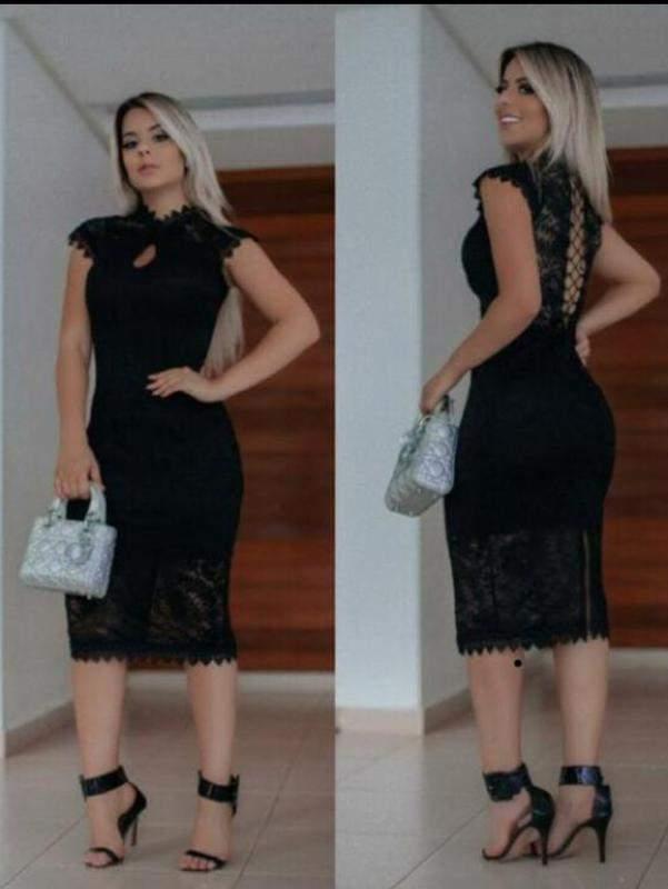 9b46ebb63 Vestido preto midi festa renda - R$ 150.00 #3674, compre agora | Shafa