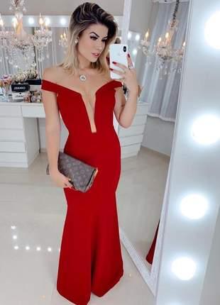 Vestido vermelho ciganinha longo festa