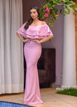 Vestido rosa rose longo  festa