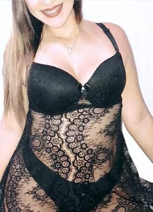 Camisola plus size de renda sexy com bojo moda intima