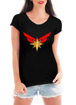 Camiseta feminina capitã marvel