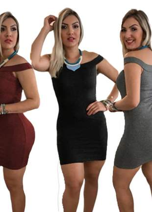 3 vestido curto feminino canelado tubinho gola canoa moda barato r.961a