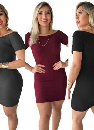 3 vestido curto feminino canelado tubinho manguinha moda barato r.961a