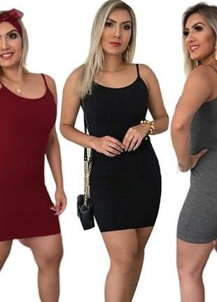 3 vestido curto feminino canelado tubinho alcinha moda barato r.961a