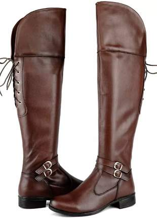 Bota feminina over the knee - marrom
