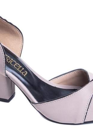 Sapato peep toe feminino salto bloco 7 cm